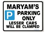 MARYAM'S Personalised Parking Sign Gift | Unique Car Present for Her |  Size Large - Metal faced